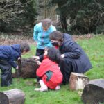 Image of Year 3 Hallfield pupils at Forest School.