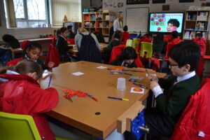 Image of a Design & Technology lesson for the Year 2 Taster Day at Hallfield School.