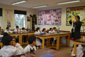 Image of a STEM lesson for the Year 2 Taster Day at Hallfield School.