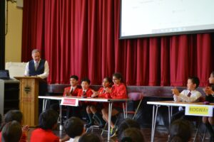 Image of Hallfield Pupils taking part in the Inter-House Quiz.