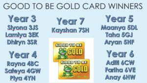Image of the 'Good To Be Gold' card winners at Hallfield School.