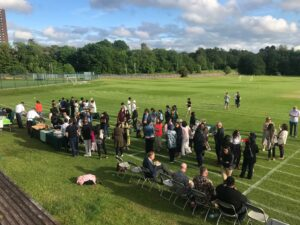 Image of parents at the Hallfield School Class of 202 reunion event.
