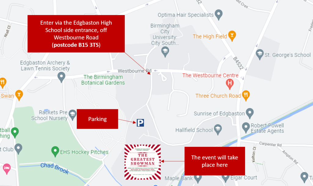 Image of a map illustrating where the open air cinema will be taking place at Hallfield School.